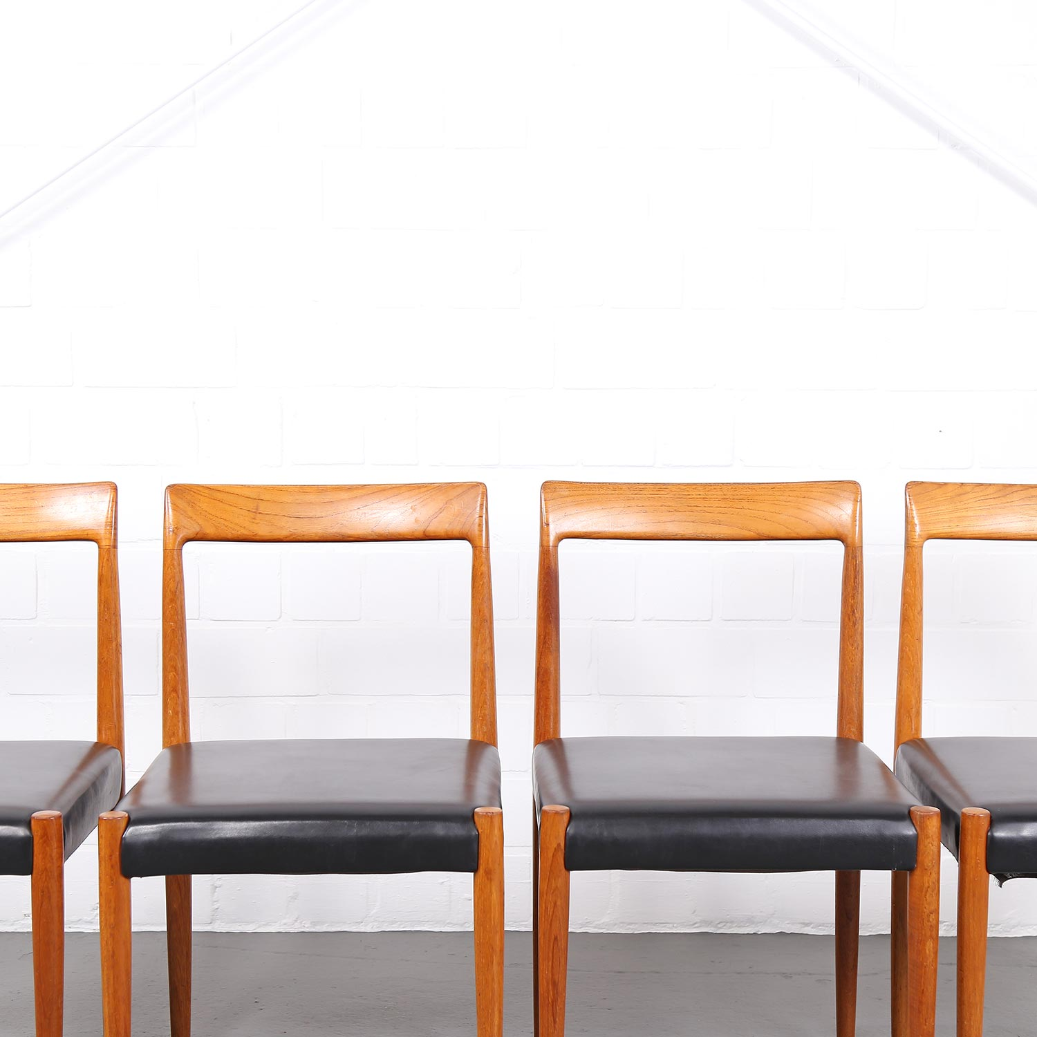 Four Minimalist Dining Chairs Danish Design Teak Leather Dekaden