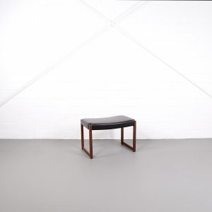 Rudolf B. Glatzel Ottomane für Ohrensessel Kill International Palisander Rosewood Lederhocker Vintage Danish Design 60er 50er