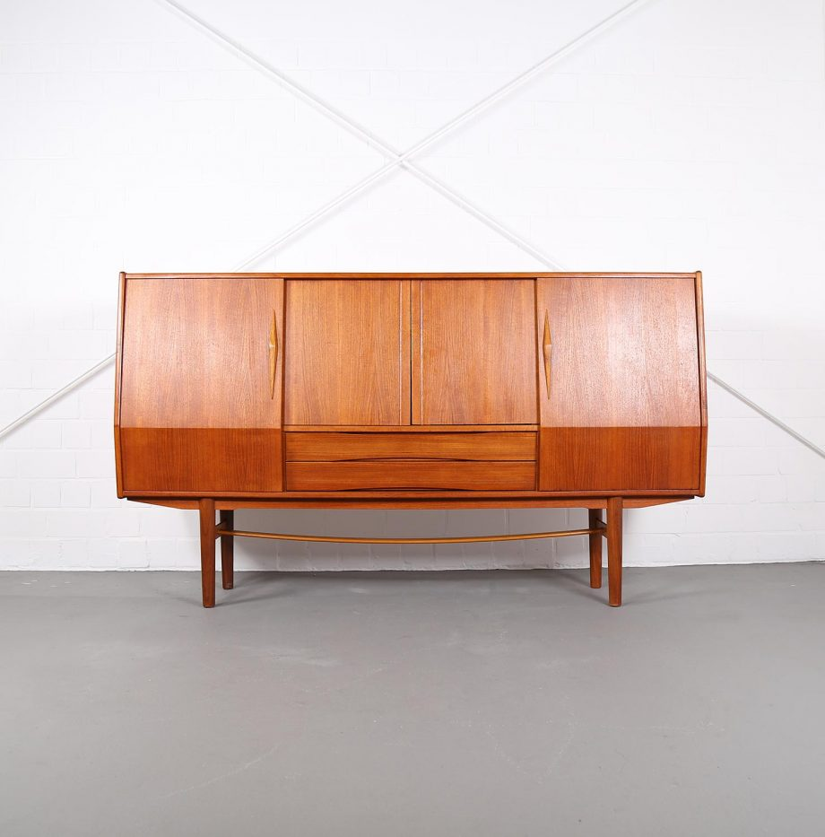 geometric danish design teak sideboard credenza 60er 70er. Black Bedroom Furniture Sets. Home Design Ideas