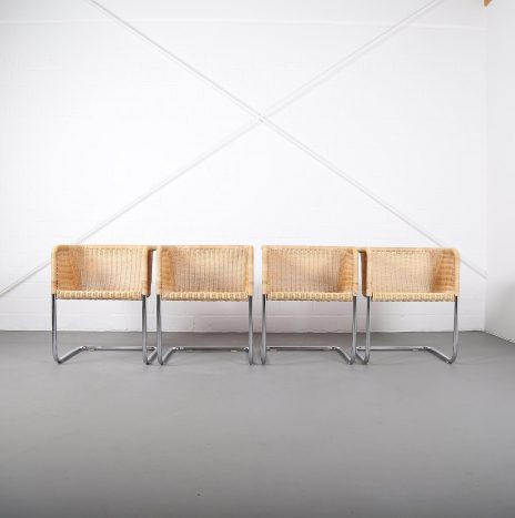 Bauhaus Chairs D43 Stahlrohr Freischwinger by Tecta Tubular Steel and Wicker