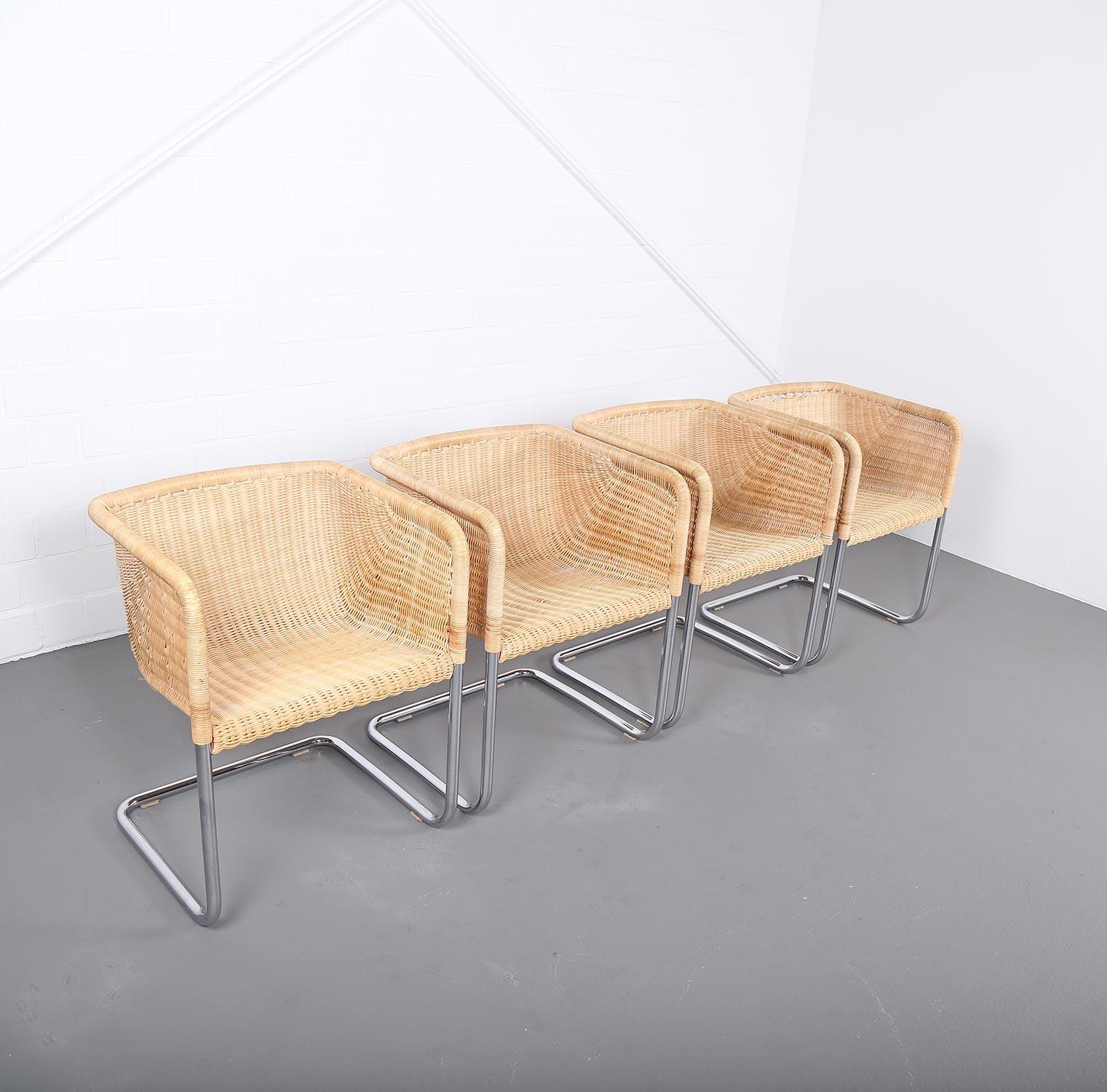 4er set freischwinger d43 stahlrohr von tecta bauhaus mart. Black Bedroom Furniture Sets. Home Design Ideas
