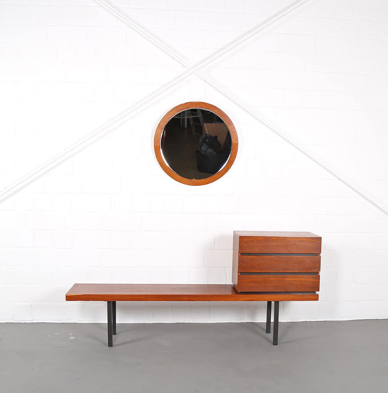 danish design teak set bench flurbank telefonbank spiegel. Black Bedroom Furniture Sets. Home Design Ideas