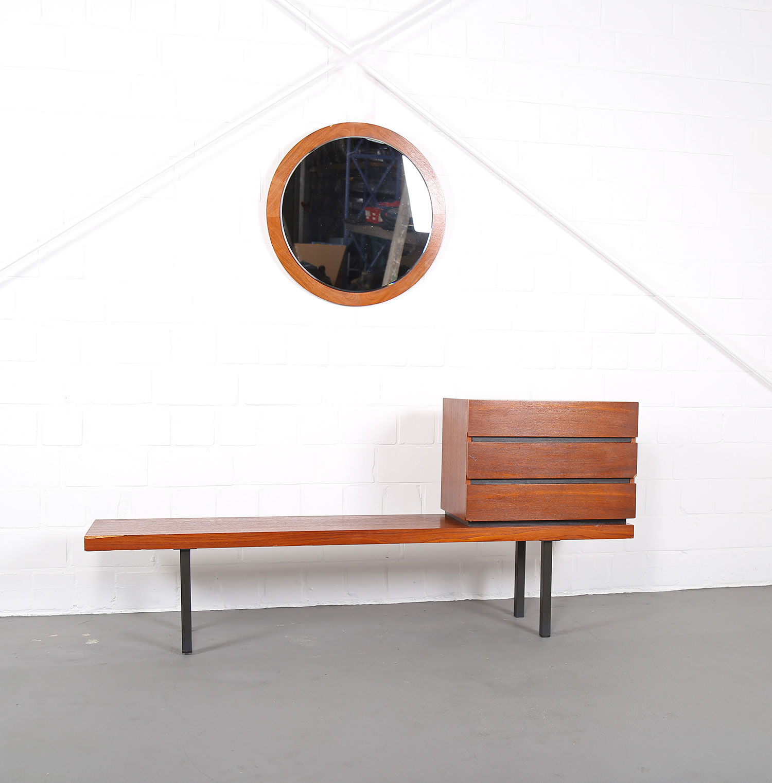 Danish Design Teak Set Telephone Bench With Chest Of Drawers And Mirror Dekaden
