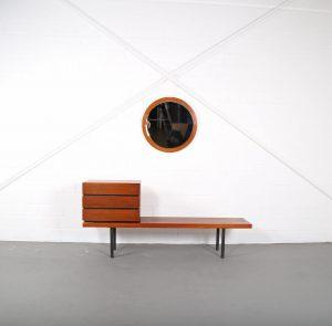 Midcentury Modern Design Telephone Bench Telefonbank Flurbank 60er 60s Vintage Bank Teak