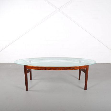 Rare Coffee Table with Glass Top Ib Kofod-Larsen for Larsen & Christensen (attr.)