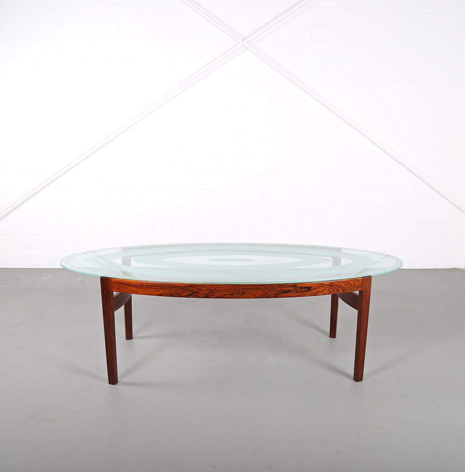 rare coffee table with glass top ib kofod larsen for. Black Bedroom Furniture Sets. Home Design Ideas