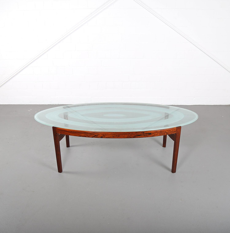 Rare Coffee Table with Glass Top Ib Kofod Larsen for Larsen