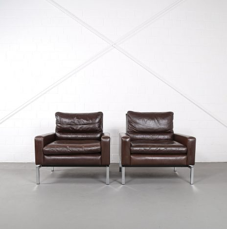 Set of two Leather Armchairs Hans Peter Piehl for Wilkhahn Programm 800