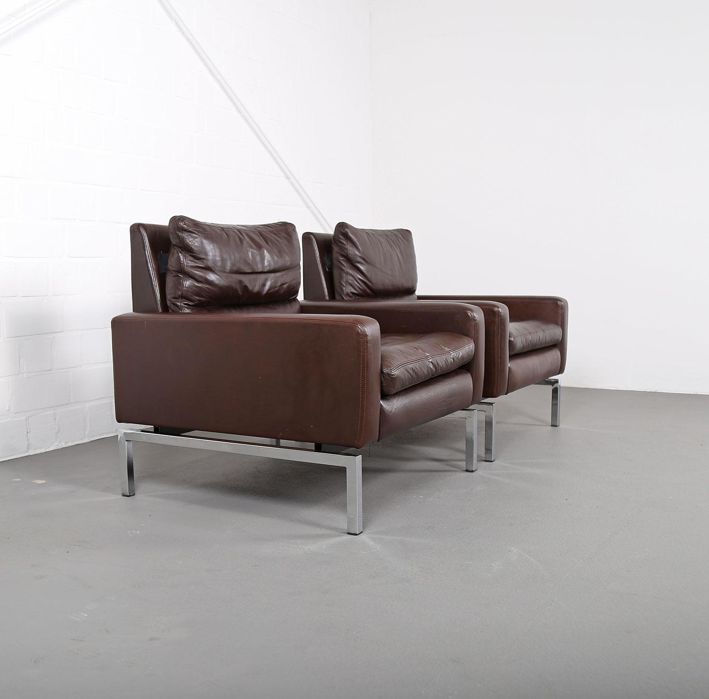 2 x ledersessel armchairs hans peter piehl wilkhahn programm 800 designklassiker ebay. Black Bedroom Furniture Sets. Home Design Ideas