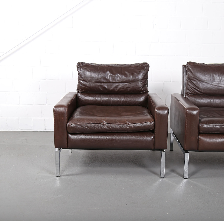 Set Of Two Leather Armchairs Hans Peter Piehl For Wilkhahn Programm 800 Dekaden