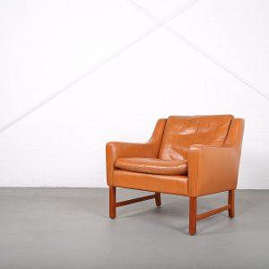 Vatne Frederick Kayser Ledersessel Leather Chair Cognac Teak Midcentury MOdern Design Classic Danish Furniture 60s 60er