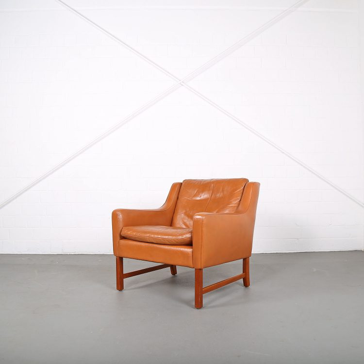 Vatne Frederick Kayser Ledersessel Leather Chair Cognac Teak Midcentury MOdern Design Classic Danish Furniture 60s 60er