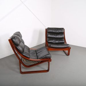 Fred Lowen Midcentury Modern Chair Leather Ledersessel Vintage Retro Geflochten 70er 70s Klassiker