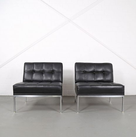 Set of 2 Leather Lounge Chairs Johannes Spalt for Wittmann model Constanze
