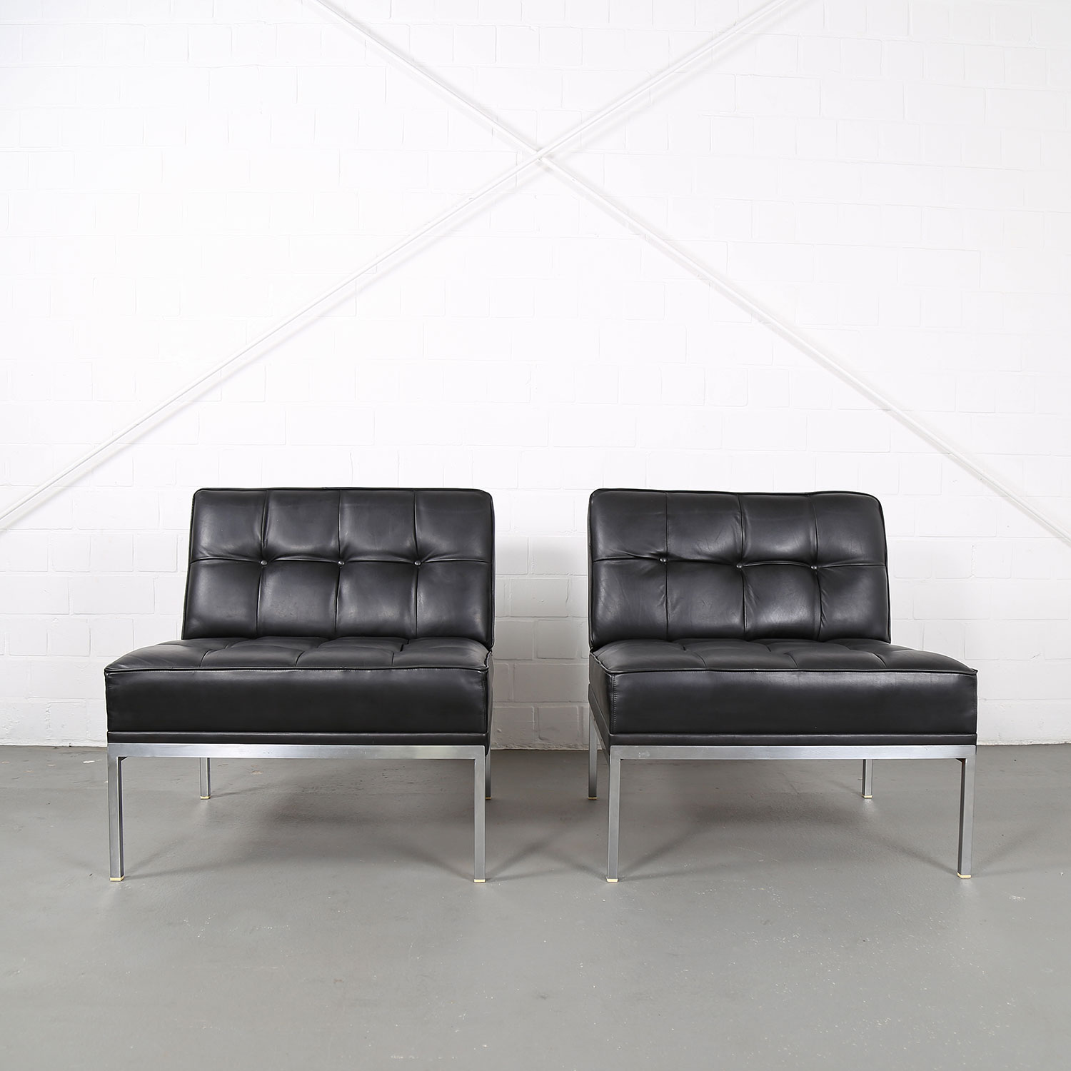 Set Of 2 Leather Lounge Chairs Johannes Spalt For Wittmann Model