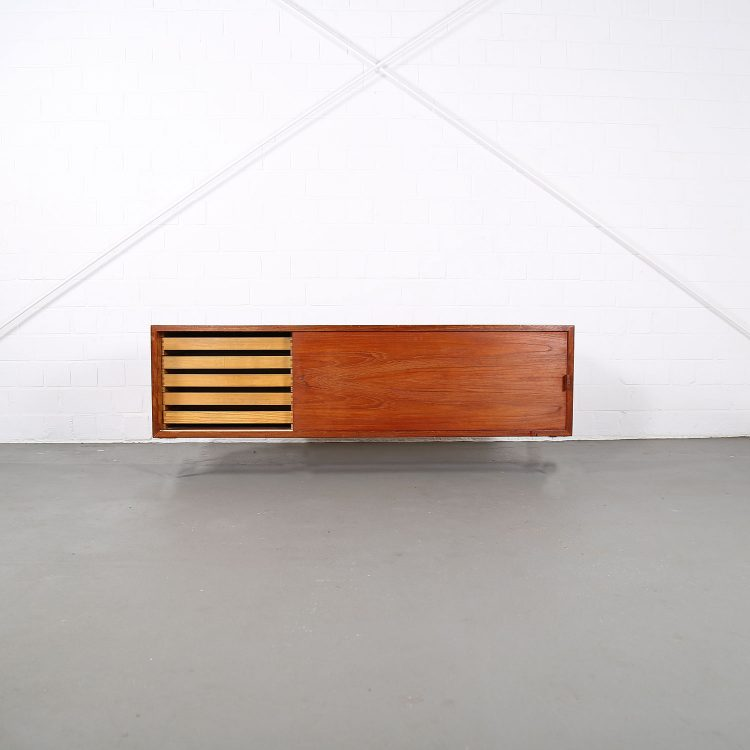 Floating Sideboard Wall Mounted Credenza Helmut Magg Deutsche Werkstätten 50s Design Teak Knoll Florence Leather Dorr Handles