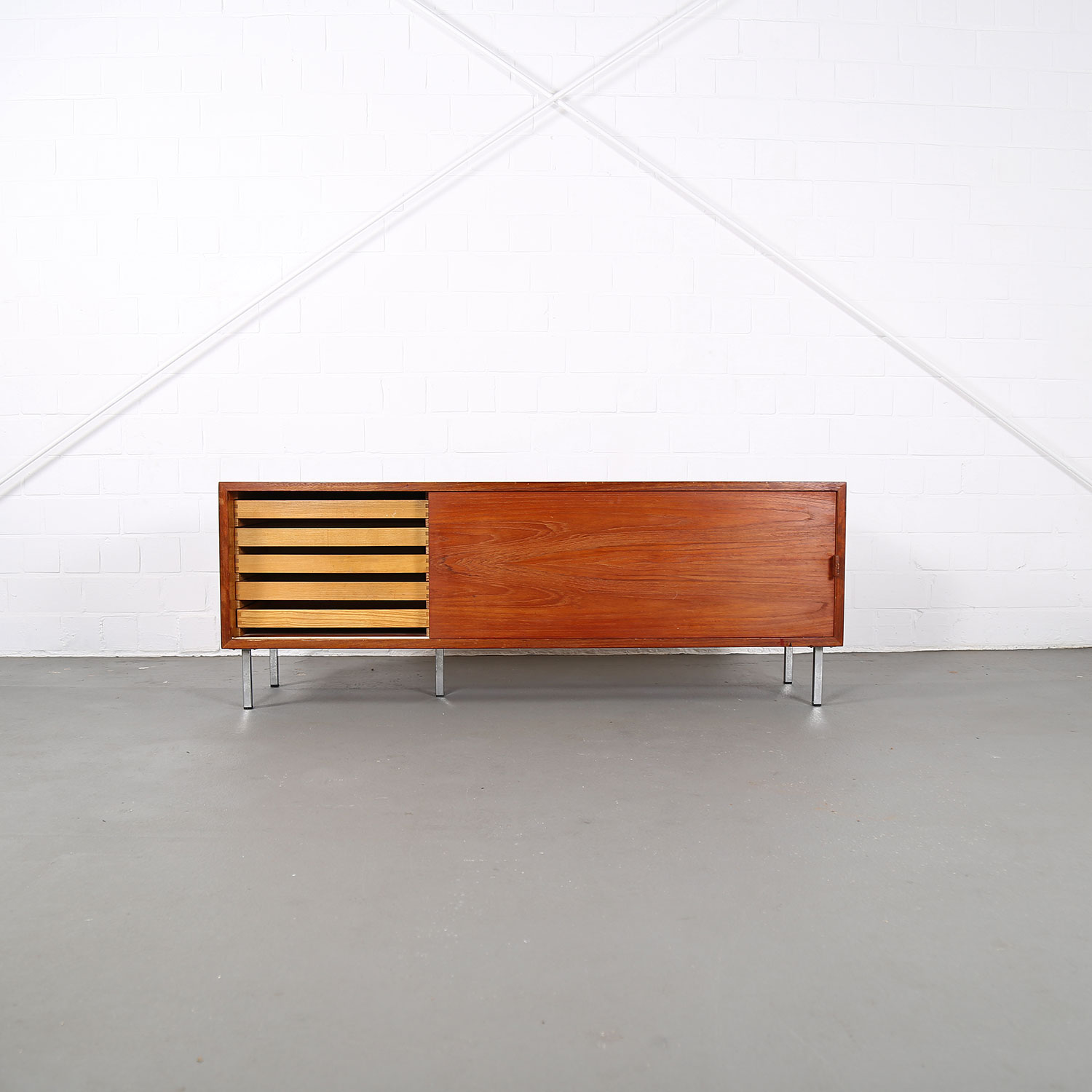 Small teak floating sideboard credenza helmut magg for - Sideboard wandmontage ...