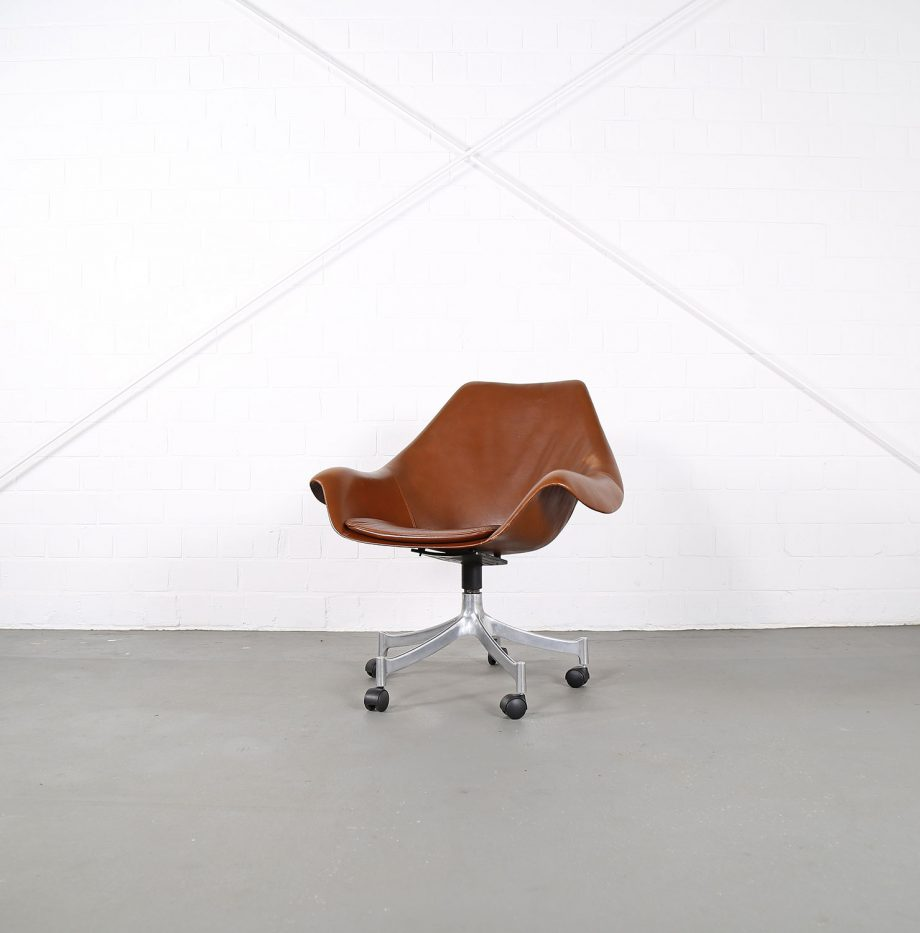 Office_Chair_Drehsessel_Bo-Ex Modell_932_Joergen_Lund_Ole_Larsen_selten_1965_60er_Design_Cognac_Leather_01
