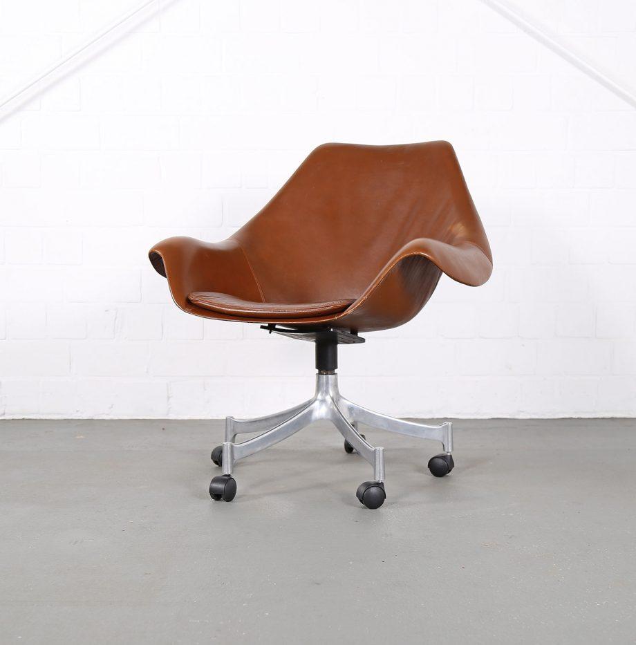 Office_Chair_Drehsessel_Bo-Ex Modell_932_Joergen_Lund_Ole_Larsen_selten_1965_60er_Design_Cognac_Leather_02
