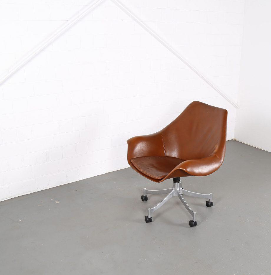 Office_Chair_Drehsessel_Bo-Ex Modell_932_Joergen_Lund_Ole_Larsen_selten_1965_60er_Design_Cognac_Leather_15