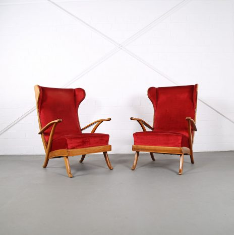 Set of 2 Wingback-Chairs by Karl Nothhelfer for Schörle & Gölz
