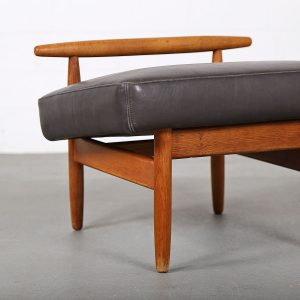 Ejvid_Johansson_Footstool_Ottoman_Fdb_Mobler_Teak_Leather_Danish_Design