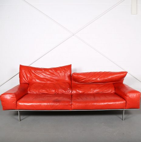 Luxurious Italian leather sofa by Giorgio Soressi for Erba Italia