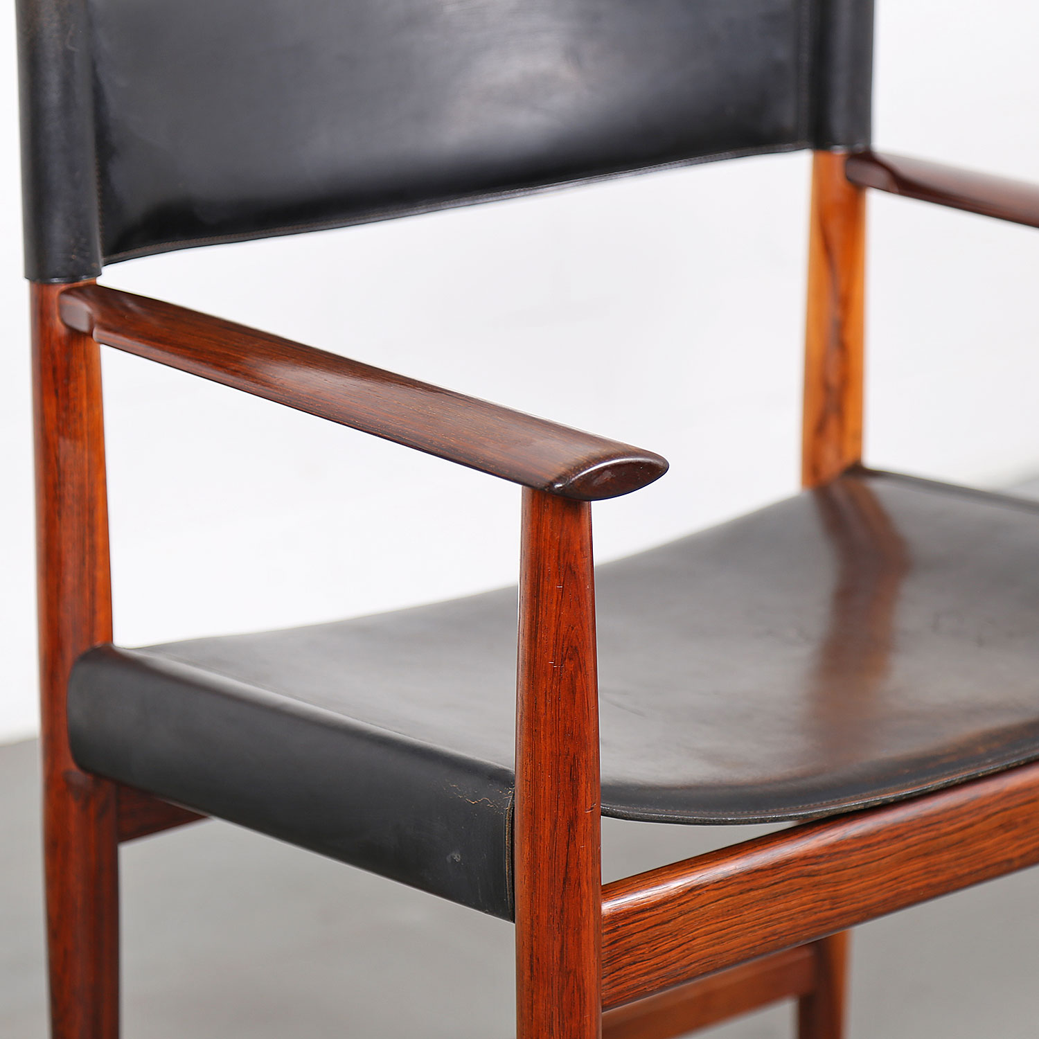 Leather Rosewood Armchair By Kurt Ostervig For Sibast Danish Design