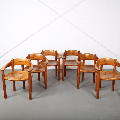 Set of six mid century modern pine dining chairs by Rainer Daumiller for Hirtshals Savaerk