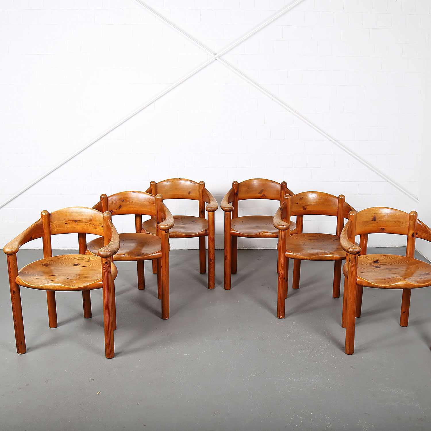 Set Of Six Mid Century Modern Pine Dining Chairs By Rainer Daumiller