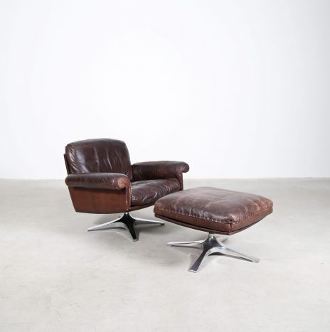 Vintage Design De Sede DS 31 Lounge Chair Swivel Leather Chair with Ottoman 70s