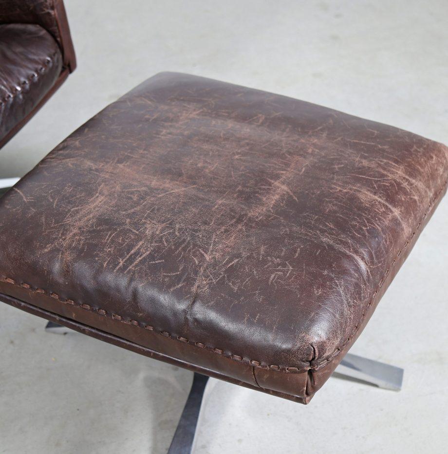 DE Sede DS31 Swivel Chair Leather 70s Vintage Design Swiss Switzerland