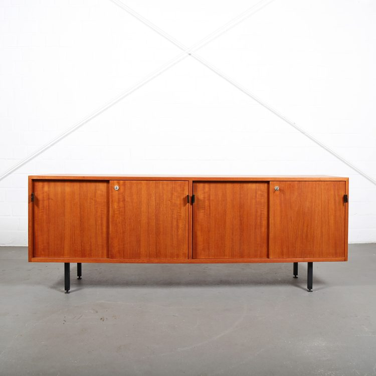 Knoll International Sideboard Florence Teak Original 60s Design Leather Door Handles