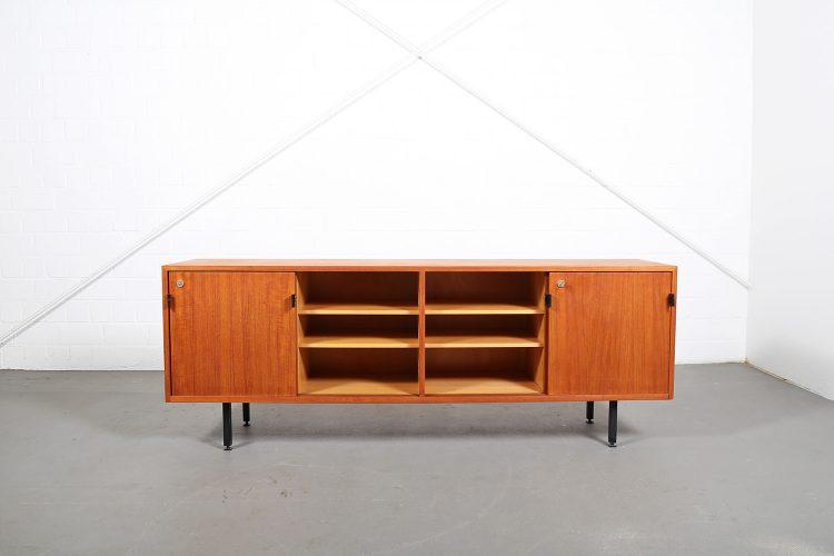Knoll International Sideboard Florence Teak Original 60s Design Leather Door Handles