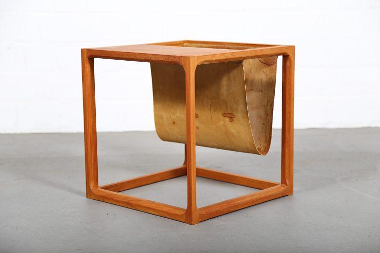 Danish Design Cube Side Table Teak Suede Magazine Rack by Kai Kristiansen